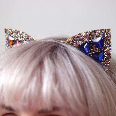 Kitty Ears - Gold Glitter