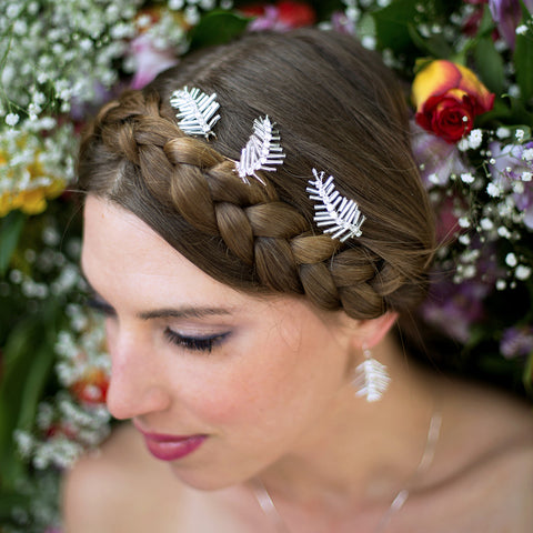 Silver Feather Hair Pins