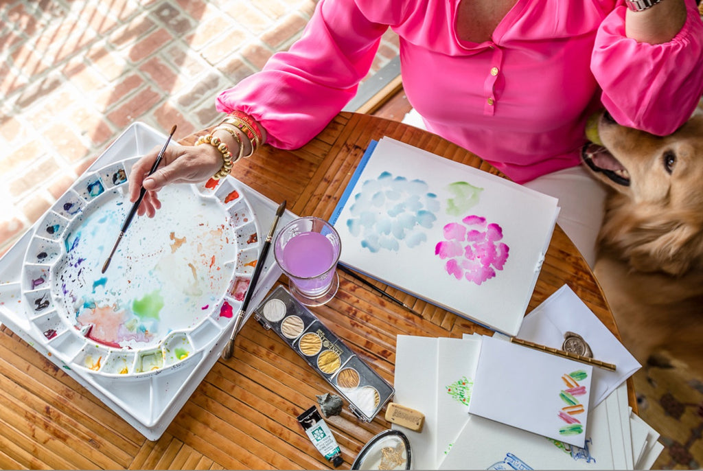 Leslie Chalfont of Giddy Paperie painting