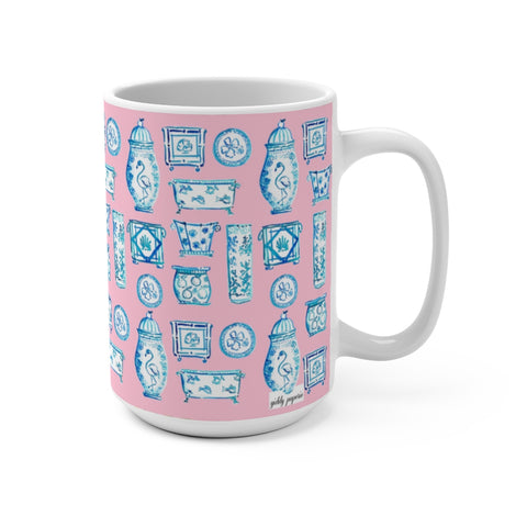 Blue and White Met  the Tropics Mug 15oz