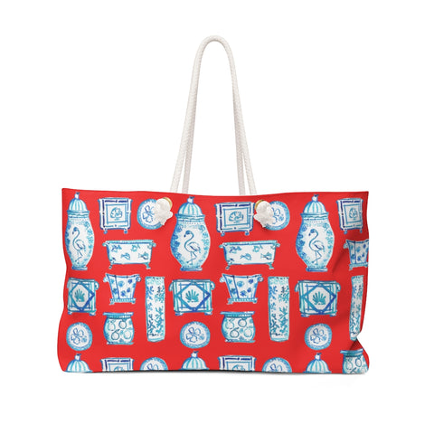 When Blue and White Met the Tropics red Weekender Bag
