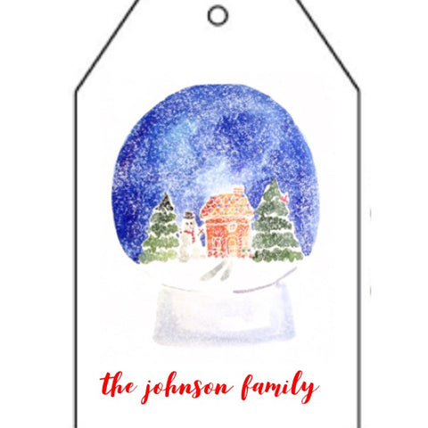 Snow Globe Greetings Gift Tag