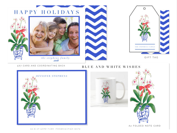 Blue and White Wishes Gift Tags