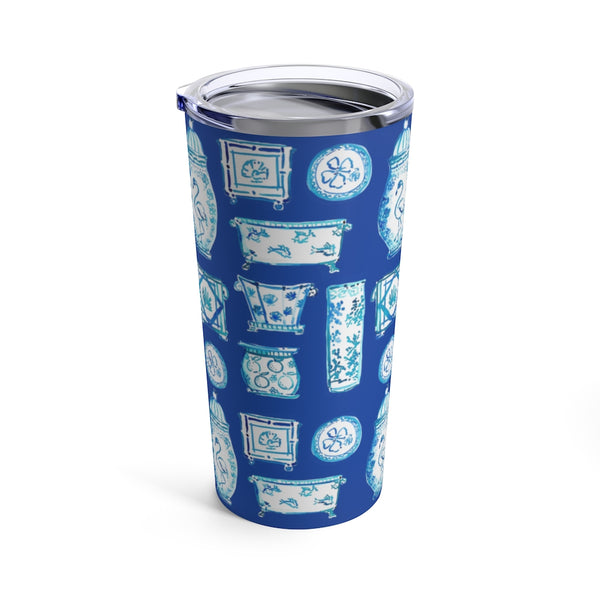 When Blue and White Met the Tropics Tumbler 20oz