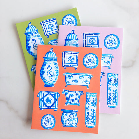 Blue and White meet the Tropics Note Cards