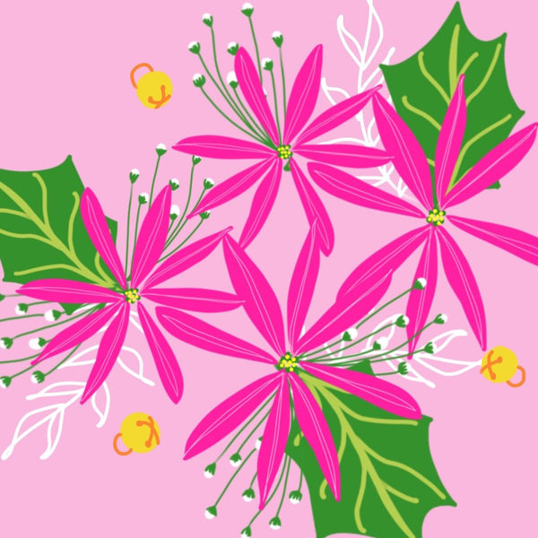 New! Poinsettia Pink Napkins- set of 2
