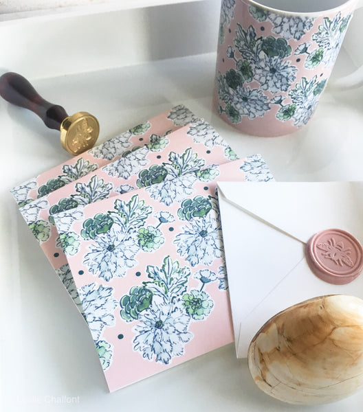 Blushing Blue and White note cards