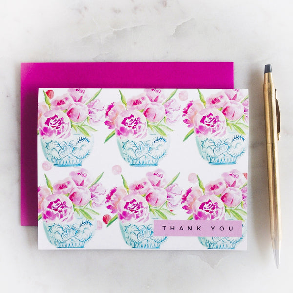 Peonies Please Note Cards