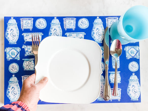 When Blue and White Met the Tropics Paper Placemats