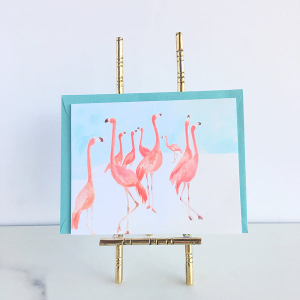 Waltzing Flamingos Note Cards