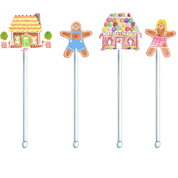 Gingerbread Family swizzle sticks