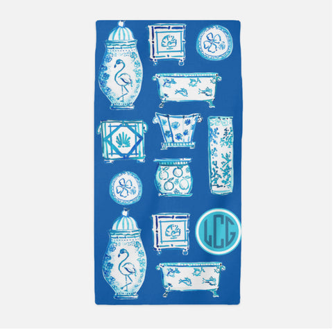 When Blue and White Met the Tropics beach towel