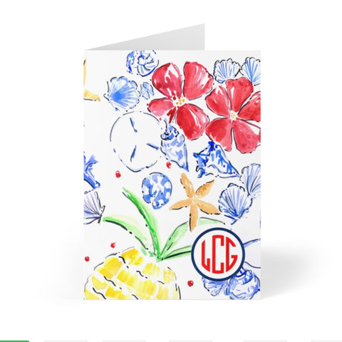Red, White & Bloom Note Cards