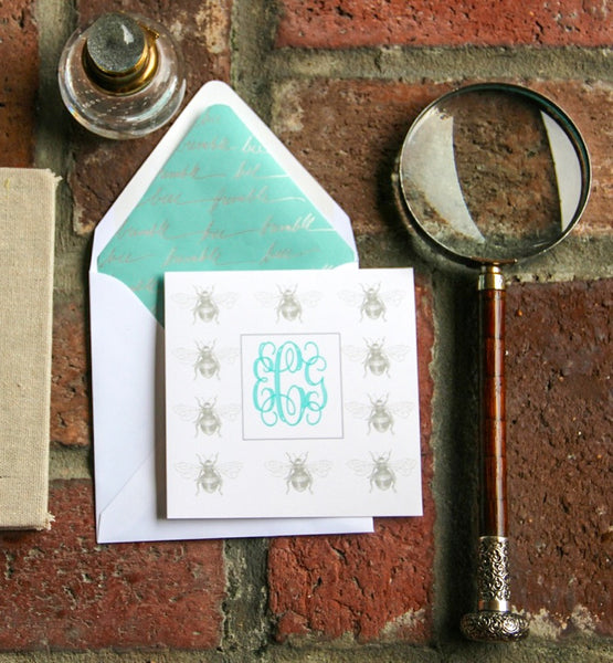 Bee Monogrammed Note Cards