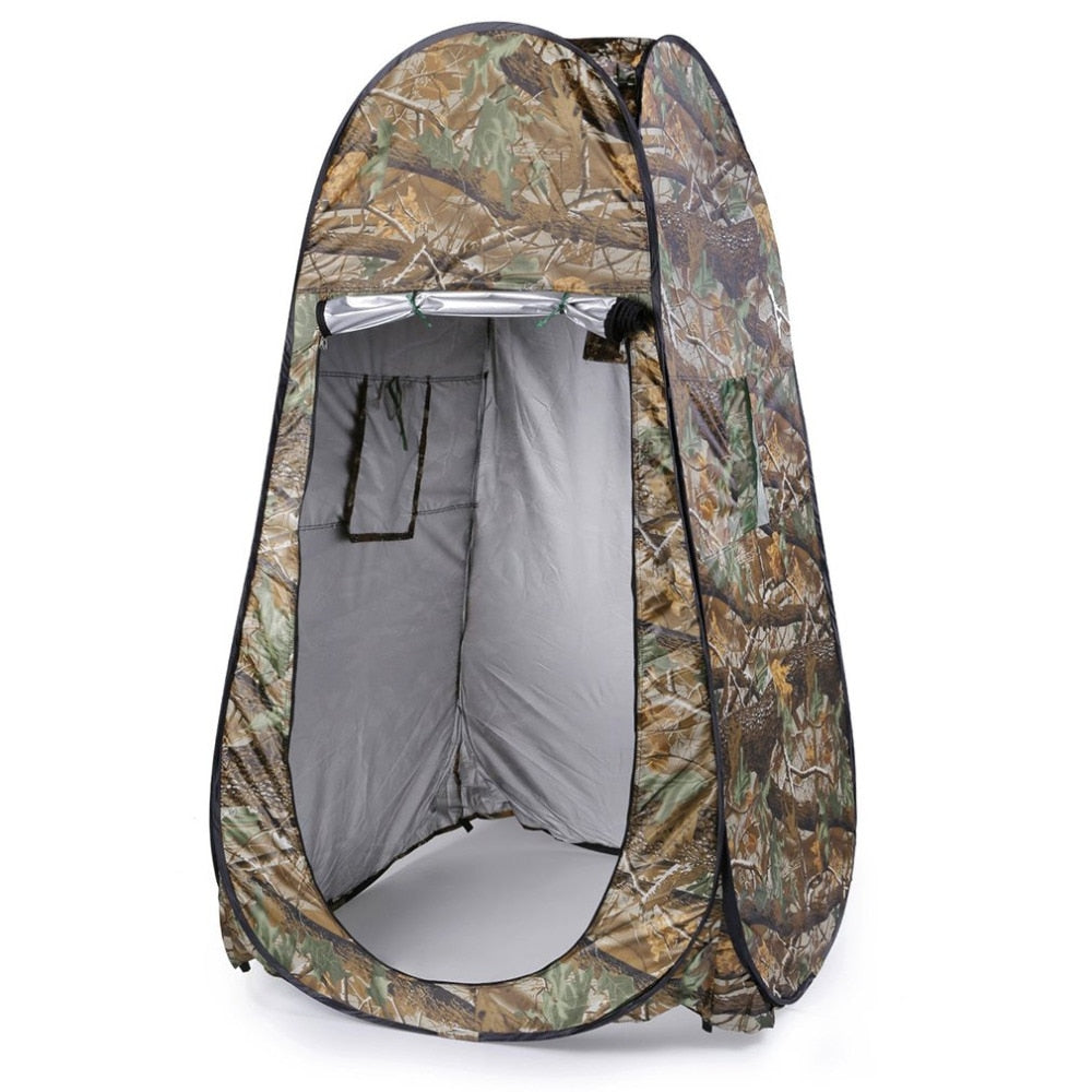 2019 Hot Sale Portable Outdoor Waterproof Easy Open 180T Tent Camping Beach Shower Changing Room Foldable With Bag Camouflage