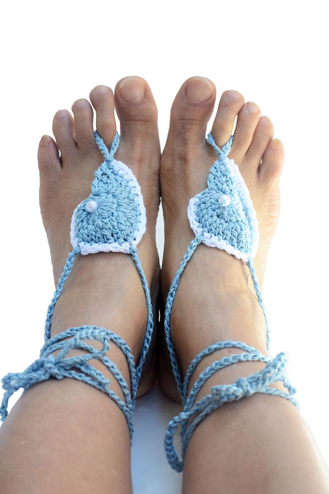 Sea Shell Barefoot Sandals Blue