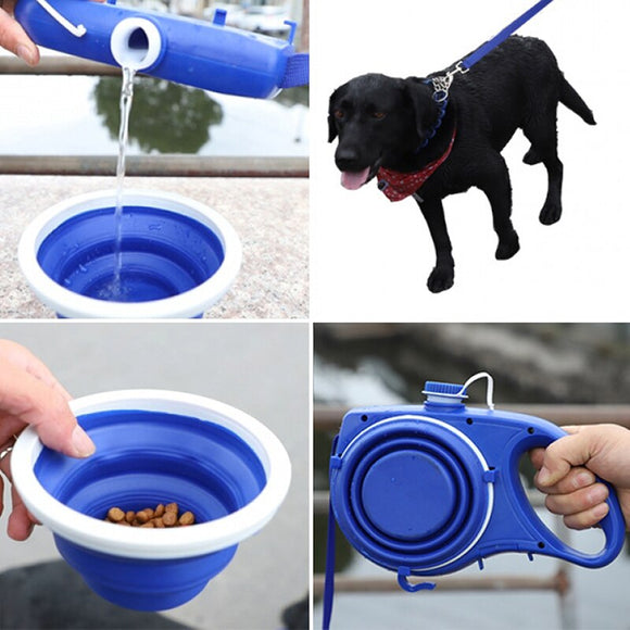Automatic Retractable Dog Leash with Water Bowl