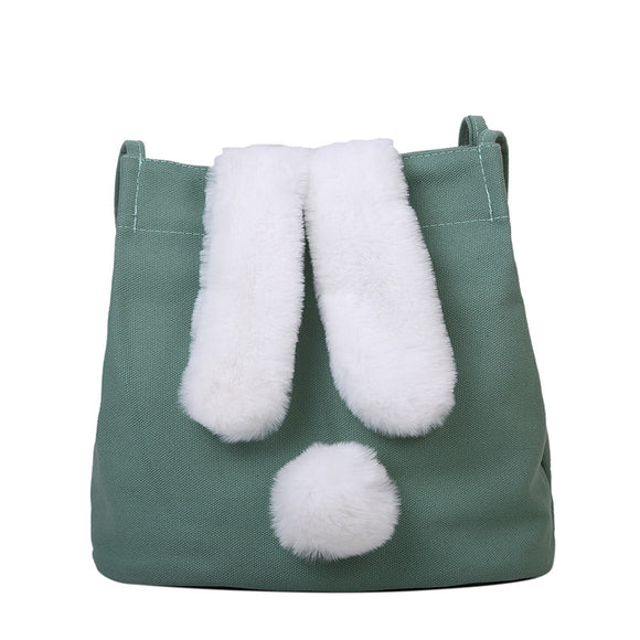 New Fashion Women Canvas Handbags Cute Cartoon Rabbit Plush Girls Shoulder Bag Large Capacity Tote Bag
