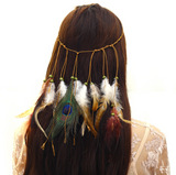 Bohemian peacock feather hair band