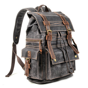 Open image in slideshow, Leather Military Backpack