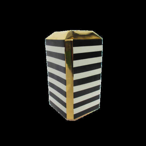 Black/Ivory Stripe Large Square Vase