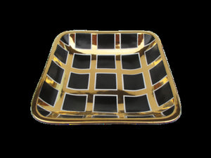 Black/Gold Grid Large Square Tray