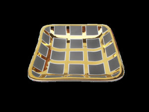 Grey/Gold Grid Large Square Tray
