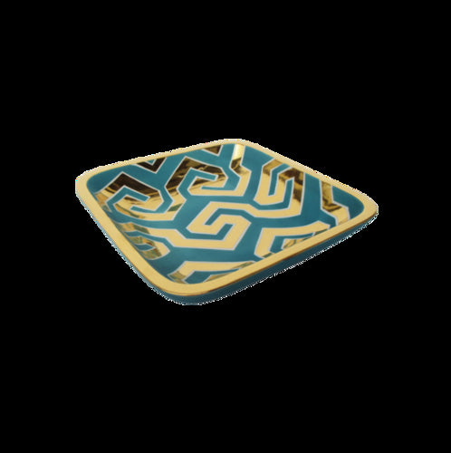 Turquoise/Gold Zigzag Large Square Tray