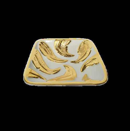 White/Gold Embossed Leaf Large Square Tray