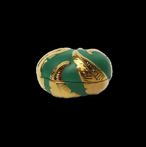 Green/Gold Embossed Leaf Oval Box