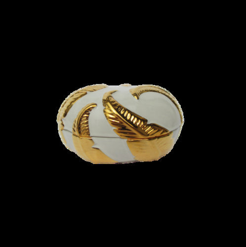White/Gold Embossed Leaf Oval Box