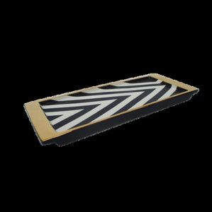 Black/Ivory Chevron Rectangle Tray