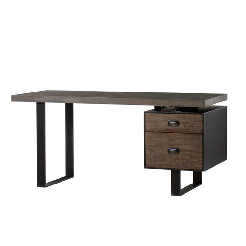 Charles Desk Dark - Concrete Top / Drift Wood