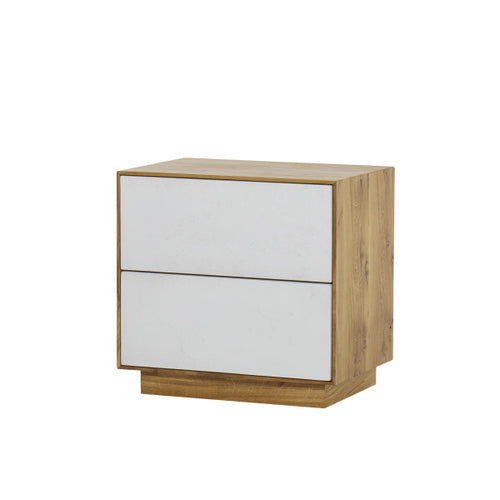 Sands Nightstand / 2 Drawer / Natural Oak & White Concrete