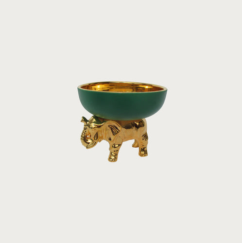 Gold/Green Elephant On Back Bowl