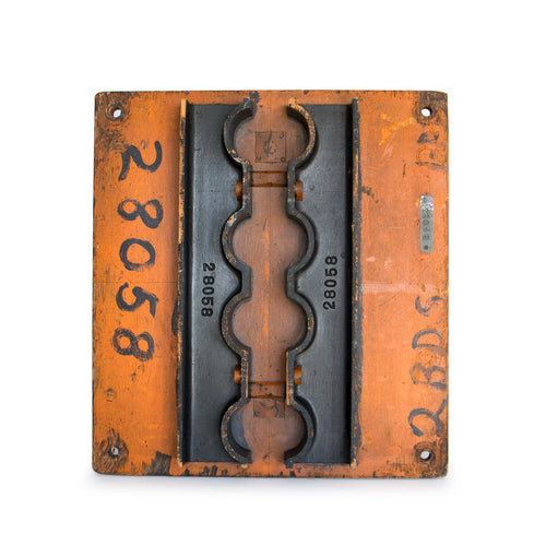 Salvage Cast Iron Wood Mold (Black/Orange)
