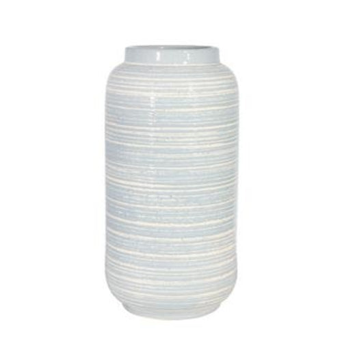 Ceramic 16 Deco Textured Vase, Blue