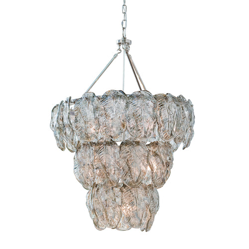 Glass Leaves Chandelier (Silver)