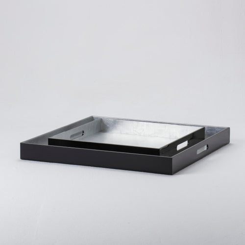 Large Lacquer Tray - Black with Silver Inlay