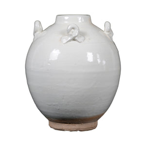 White vintage style jar with four handle