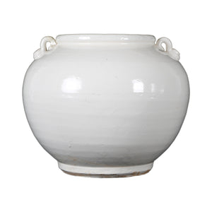 Creamy White Round Pot with Two Handles
