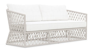 AMELIA 3 SEAT SOFA [Frame Only] Matte White Aluminum & Sand All-Weather Rope