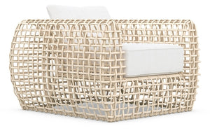 KIAWAH CLUB CHAIR [Frame Only] Matte White Aluminum & Almond All-Weather Wicker
