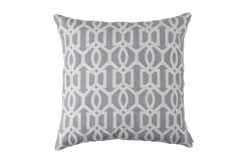 BRACELET SQUARE PILLOW MED GREY LINEN/LT GREY LINEN APPLIQUE 24X24