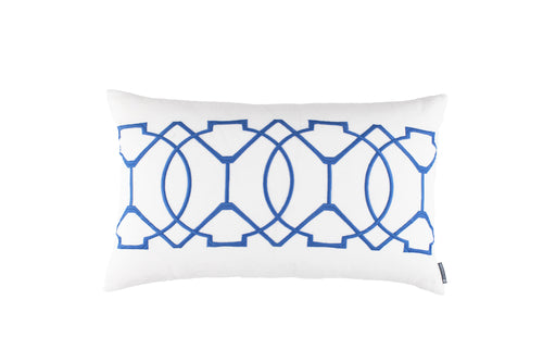 MAGIC LG. RECT. PILLOW WHITE LINEN/AZURE RICE EMBROIDERY 18X30