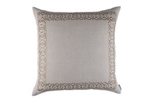MAGIC EURO PILLOW LT. SAND LINEN/DK. SAND RICE EMBROIDERY 28X28