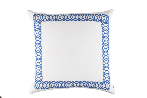 MAGIC EURO PILLOW WHITE LINEN/AZURE RICE EMBROIDERY 28X28