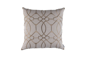 MAGIC SQUARE PILLOW LT. SAND LINEN/DK. SAND RICE EMBROIDERY 24X24