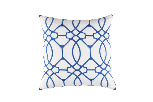 MAGIC SQUARE PILLOW WHITE LINEN/AZURE RICE EMBROIDERY 24X24