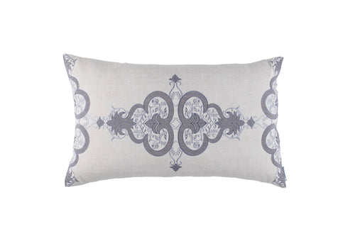 NINA LG. RECT. PILLOW LT GREY LINEN/LT GREY EMBROIDERY/MEDIUM GREY LINEN APPLIQUE 18X30
